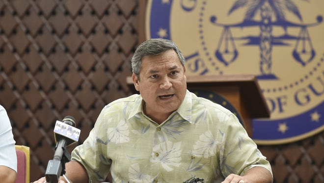 Gov. Eddie Baza Calvo speaks during a Commission on Decolonization meeting at the Ricardo J. Bordallo Governor's Complex in Adelup on April 5.