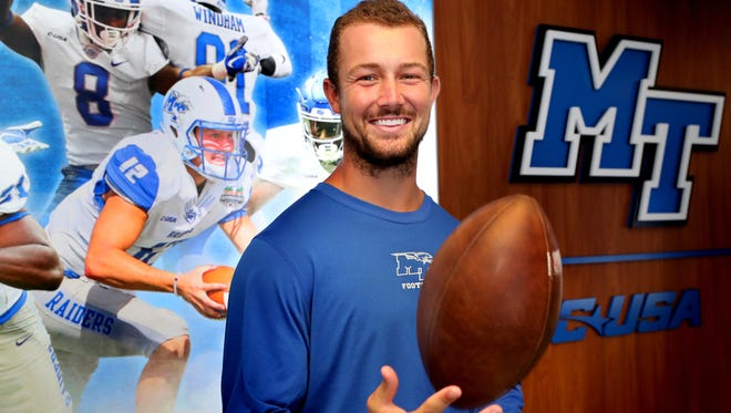 Brent Stockstill MTSU's quarterback stands in the football hallway at Murphy Center on Wednesday, Aug. 8, 2018. This will be the last season for Stockstill.
