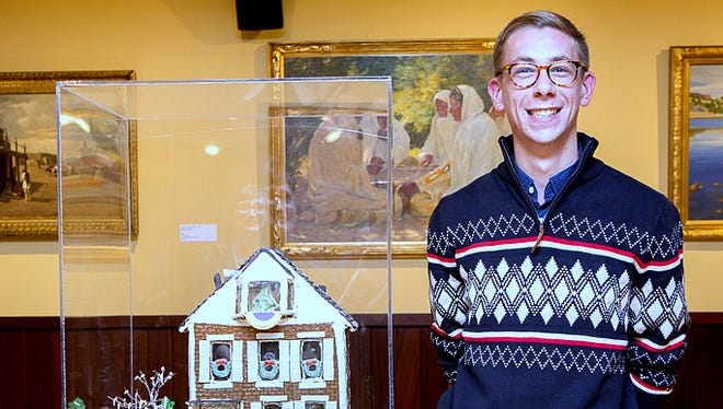 Ryan Anderson won first prize in the Rockwell Museum Gingerbread Invitational with his recreation of the Susan B. Anthony House in Rochester.