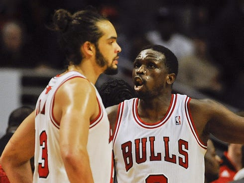 Joakim Noah (13) and Luol Deng (9) were teammates with the Bulls for six-plus seasons.
