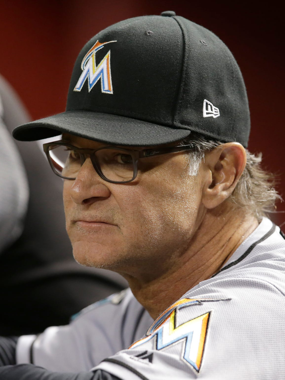Miami Marlins manager Don Mattingly (8) in the first