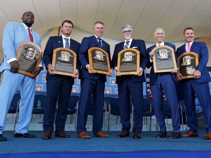 From left, inductees Vladimir Guerrero, Trevor Hoffman,