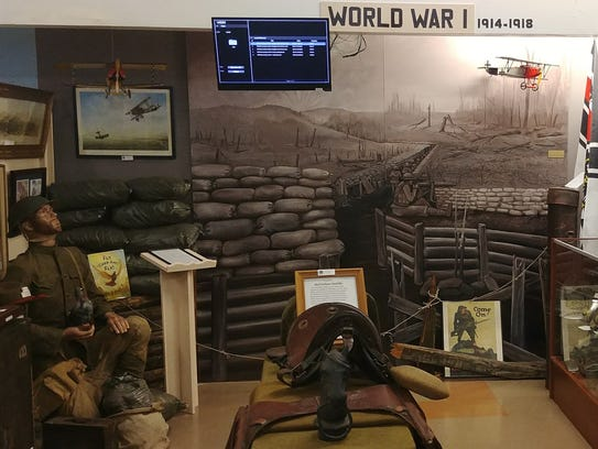 This scene depicting World War I is designed to draw