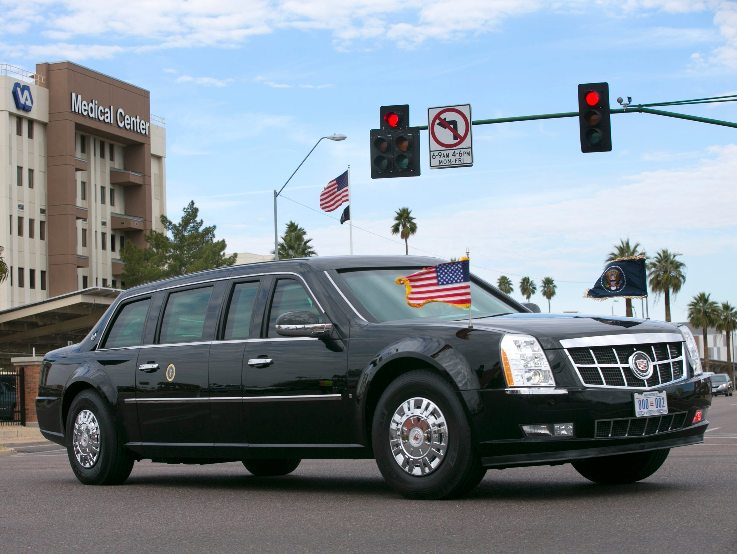 The Presidential limo containing President Barack Obama