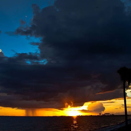 Tampa Bay Sunset. Courtney Campbell Causeway looking towards Clearwater.