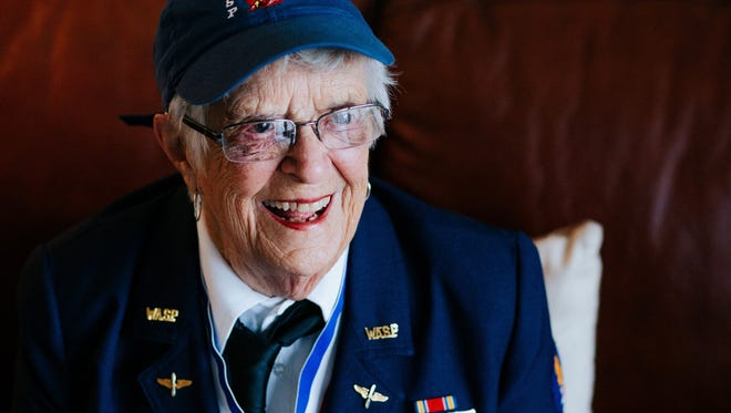 Mildred (Jane) Doyle, 96, a member of the Women Airforce Service Pilots during World War II, flashes a smile while speaking about her time in the service at her Grand Rapids, Mich. home on Nov. 7, 2017.  With 1,074 other women, Doyle flew military planes in support missions for the U.S. Air Force.