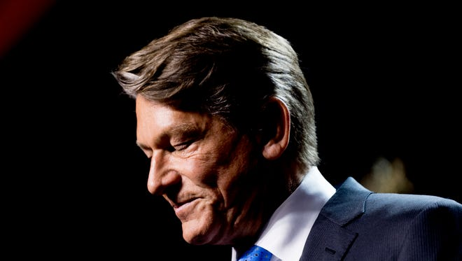 Randy Boyd fights back tears while speaking at his watch party at Jackson Terminal in Knoxville on Thursday, Aug. 2, 2018.