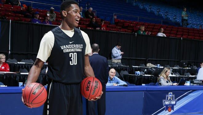 Vanderbilt center Damian Jones (30) looks on during a practice Monday at Dayton Arena.