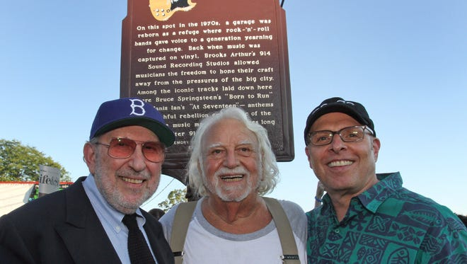 From left, Brooks Arthur, Artie Resnick, and Larry Alexander are photographed under the historical plaque commemorating the 914 Sound Recording Studio in Blauvelt on Aug. 18, 2016.