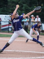 Bronson's Skyler Sobeski throws during the championship