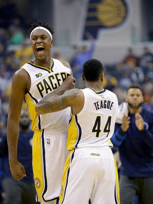 Indiana Pacers forward Myles Turner (33) celebrates a play with Jeff Teague (44) in the first half of their game Wednesday, October 26, 2016, evening at Bankers Life Fieldhouse.