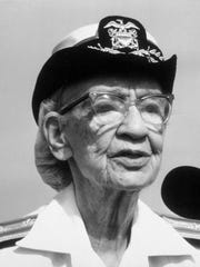 FILE - This 1985 file photo shows 79-year-old Rear Admiral Grace Hopper. On Saturday, Feb. 11, 2017, Yale University said it is renaming Calhoun College after Hooper, a trailblazing computer scientist, a mathematician who earned Yale degrees in the 1930s, invented a pioneering computer programming language and became a Navy rear admiral.
