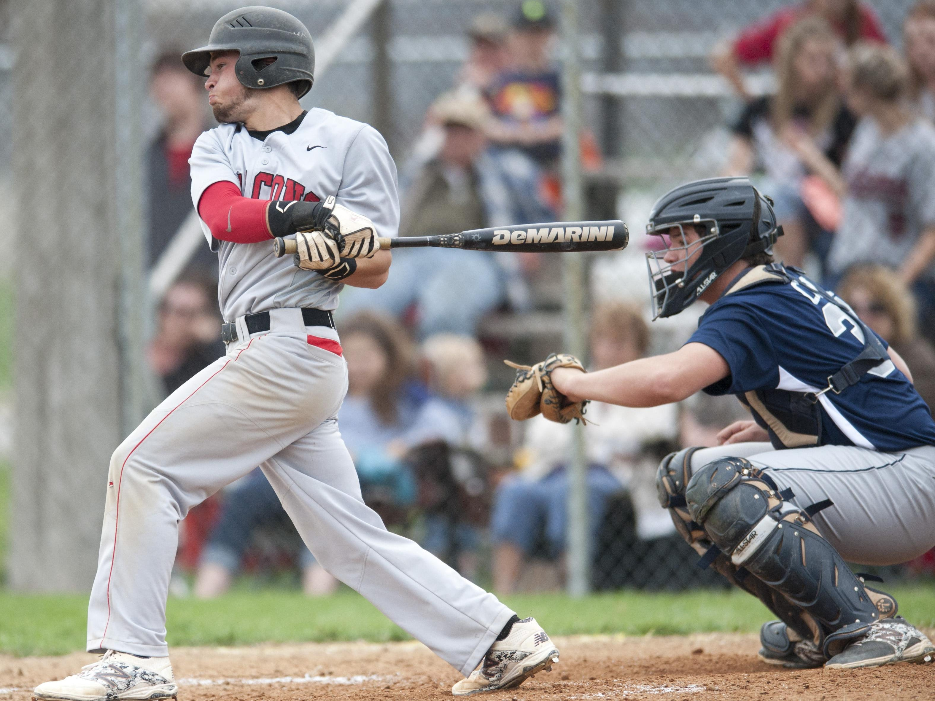 Baseball - CC at Frontier. Brandon Gallinger reaches base as result of error by shortstop.