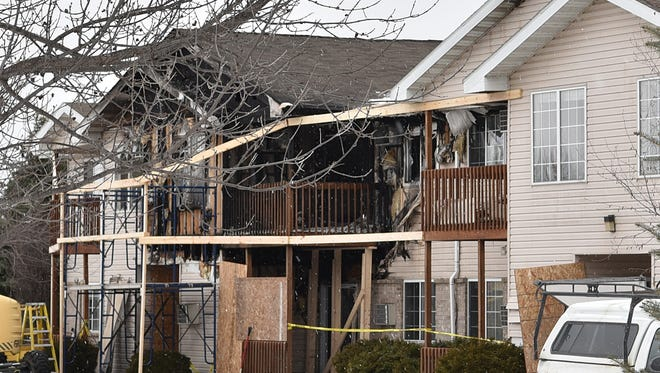 Support and restructuring is evident Monday at the 16-unit apartment building at 890 S. Oxford Ave., on the West Side of Sturgeon Bay. Multiple families were affected by the Feb. 13, 2016 fire.