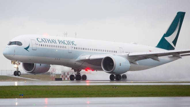 A Cathay Pacific Airbus A350-900 takes off from Vancouver International Airport for Hong Kong on March 28, 2017. It marked the first scheduled A350 service to Canada.