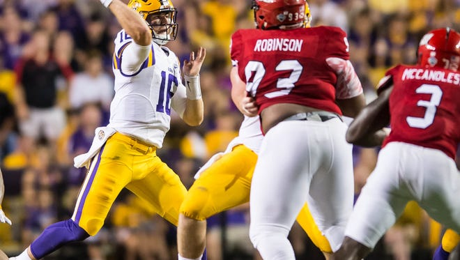 Advertiser photo by Buddy Delahoussaye-- LSU Tiger quarterback Danny Etling in for Brandon Harris during the first half of a non SEC game between Jacksonville State and the LSU Tigers in Death Valley on Saturday September 10, 2016.