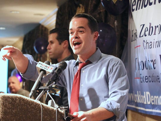State Senator David Carlucci speaks to Democrats gathered at the DoubleTree Hotel in Nanuet Nov. 3, 2015.