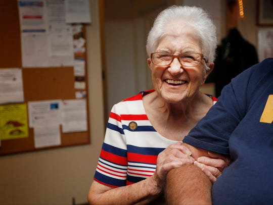 Hazel Thompson, 98, get's a good laugh while talking