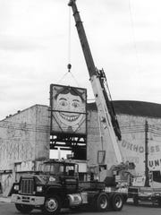 Tillie comes down from Palace Amusement Center in 2004. The image which became associated with Asbury Park may originally have been a turn of the 20th century caricature of Coney Island impresario George C. Tilyou's brother.