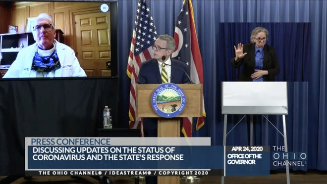 Dr. Mark Hurst, then the medical director of the Ohio Department of Health, discussed coronavirus contact tracing with Gov. Mike DeWine at the governor's briefing on April 24.