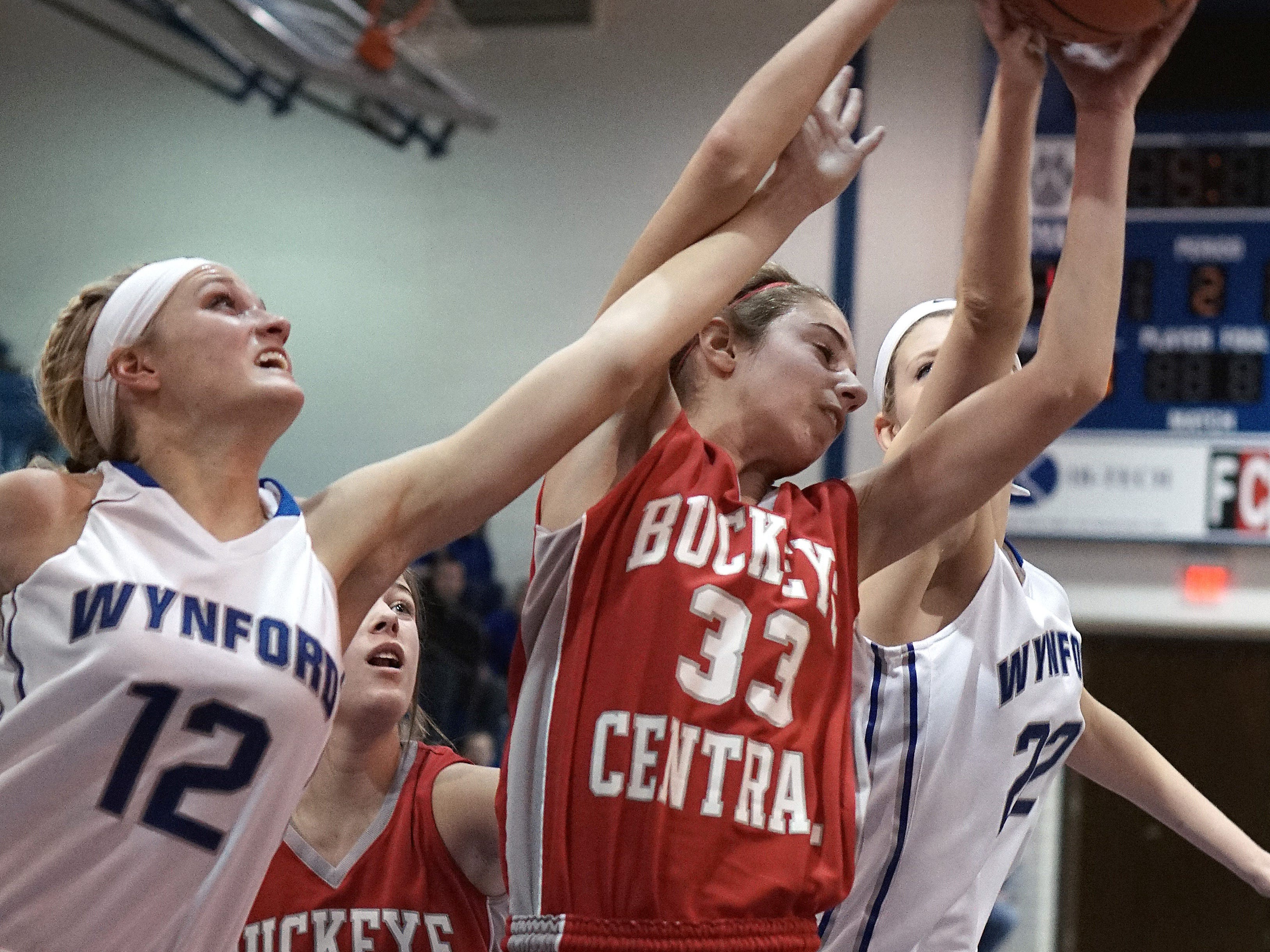 Buckeye Central's Isabelle Biglin fights for a rebound during their game Saturday afternoon against Wynford at Wynford.