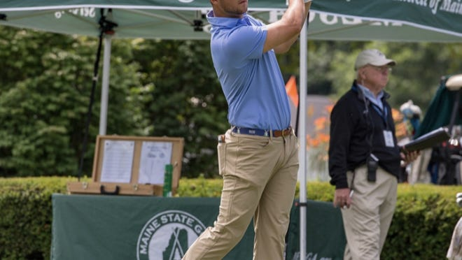 Ricky Stimets tees off at the 2017 Maine Open.