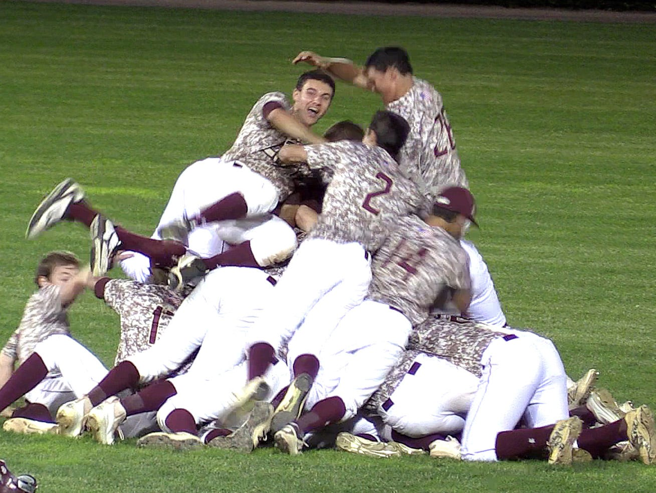 "Iona Prep celebrates after defeating Msgr. Farrell 5-4 with a walk-off hit by Michael Gorman in the ninth inning of the CHSAA ""AA"" baseball championship final June 10, 2016."