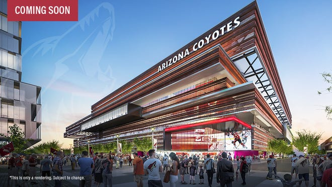 An artist rendering of the exterior of the Arizona Coyotes new arena in Tempe. This is only a rendering and is subject to change.
