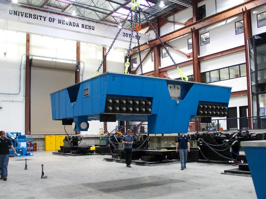 During the Nevada Earthquake Engineering Lab's recent expansion, three 27-ton, 14-by-14 table platens were lifted into place by the lab's 30-ton cranes as the lab crew installed equipment in the world-renowned earthquake engineering facility.