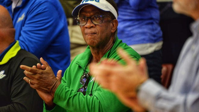 Former Florida Gulf Coast University President Dr. Wilson Bradshaw cheers on the Eagles against Stanford in the second round of the NCAA tournament on Monday, March 19, 2018, in Stanford, Calif.