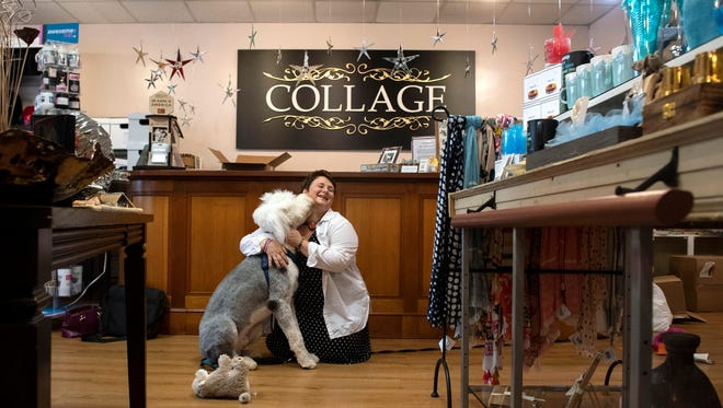 Whitney Morgan and her dog, Jude, a 9-month old Old English Sheepdog, spend each day at her gift shop, Collage. In December, Jude wasn't expected to live, suffering from blindness and seizures. He was nursed back to health and was adopted by Whitney Morgan, the owner of Collage. He now brings joy to customers and employees.