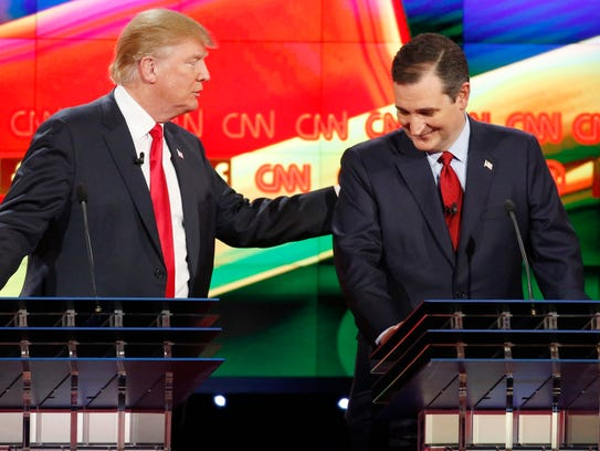 Donald Trump and Ted Cruz joke with each other during