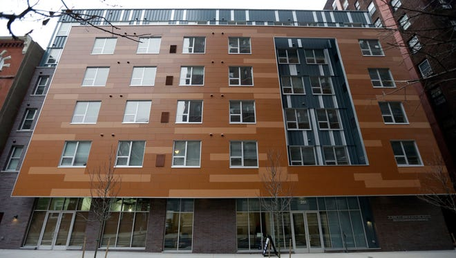 Shown is the new John C. Anderson apartments building, an affordable housing complex aimed at gay seniors, Thursday, Jan. 2, 2014, in Philadelphia. It?s one of the only such buildings in the nation, serving an untapped market that experts say will continue to grow as the population ages. Gay seniors often fear discrimination, disrespect or worse by health care workers and residents of traditional elder housing facilities, ultimately leading many back into the closet after years of being open. (AP Photo/Matt Rourke)