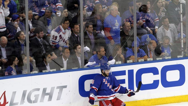 The Rangers' Derick Brassard sits frustrated on the ice during Game 3 against the Kings at Madison Square Garden Monday.