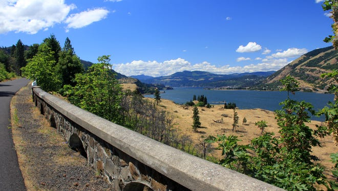 The Historic Columbia River Highway State Trail between Hood River and Mosier offers some outstanding views of the Columbia River.