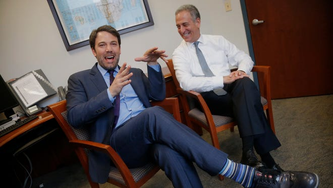 Oscar-winner Ben Affleck met U.S. Special Envoy for the Great Lakes Region of Africa Russ Feingold at the State Department, during his day in Washington to lobby for more attention on war-torn Congo.