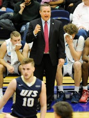 Southern Indiana head coach Rodney Watson yells down court during a game against Illinois Springfield at USI in Evansville, Thursday, Feb. 16, 2017. Southern Indiana beat Illinois Springfield 90-57.