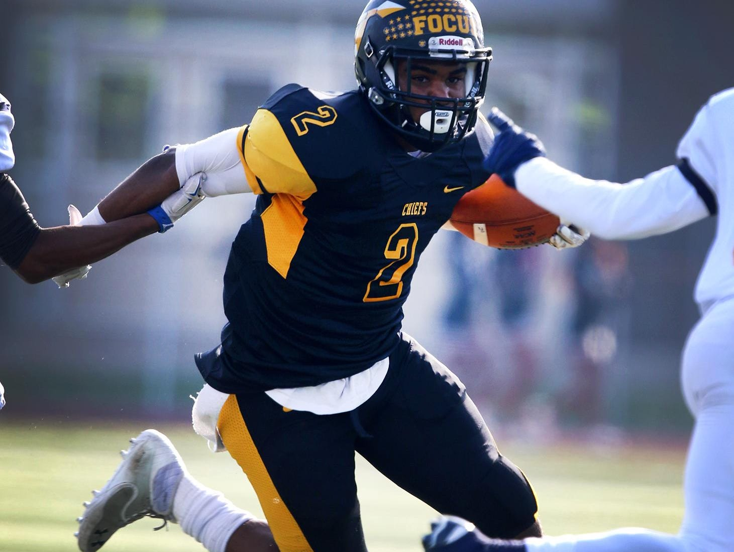 Piscataway's Eliah Barnwell rushes against Franklin football on Thanksgiving.