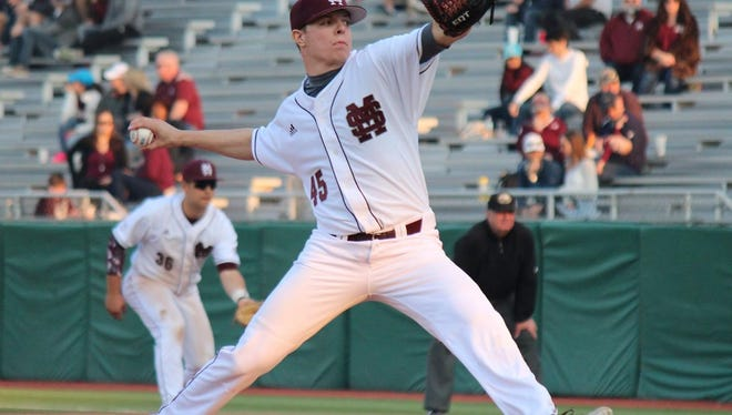 Mississippi State's Jacob Billingsley pitches in the second game on Saturday in a win against UMass-Lowell.