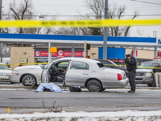 The scene of an officer-involved shooting Tuesday in