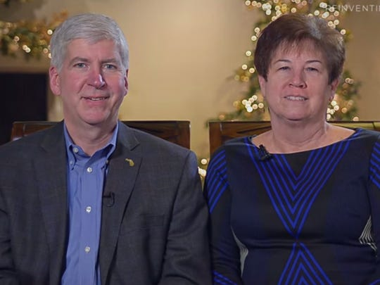 Michigan Gov. Rick Snyder and his wife, Sue Snyder, are shown in this screen capture from their holiday message.