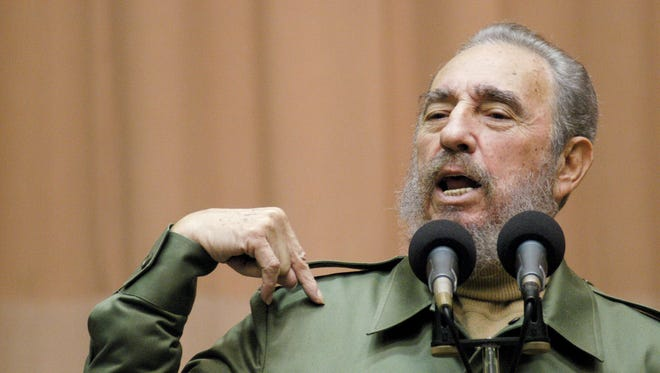 Cuban leader Fidel Castro addresses a group of international and University of Havana students at an assembly hall in the Miramar district of Havana, Cuba.