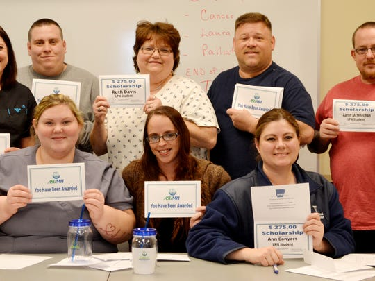 Evening nursing students receiving Arkansas State university Mountain Home $275 nursing scholarship are, first row, from left, Caitlin Riley, Joni McKinney and Ann Conyers, second row, Laura Rouse, Ryan Amy, Ruth Davis, Joseph Kowalsky Jr.and Aaron McMeechan.