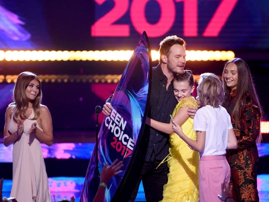 Chris Pratt accepted Choice Sci-Fi Movie Actor for 'Guardians of the Galaxy Vol. 2' from Millie Bobby Brown, Maddie Ziegler and Grace VanderWaal.