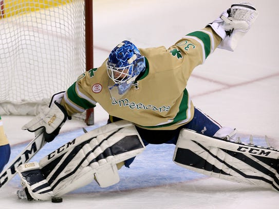 Rochester goalie Linus Ullmark slides across the crease
