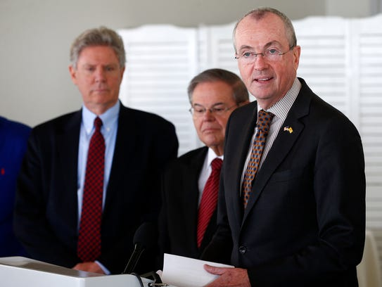 Governor-elect Phil Murphy (right) is joined by U.S.