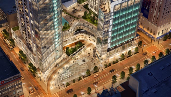 Marcus Corp.'s eMbarKE project would feature an 11-story, 276-room expansion for its neighboring Hilton hotel. The W. Wisconsin Ave. development would include a 16-story, 200-unit apartment high-rise.