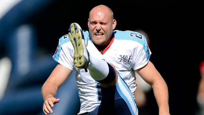 In this Sept. 22, 2013 file photo, then Tennessee Titans kicker Rob Bironas warms up before an NFL football game between the Titans and the San Diego Chargers in Nashville, Tenn. Bironas died Saturday night, Sept. 20, 2014 after a car accident near his Nashville home, according to police.