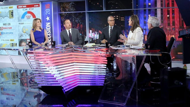 Republican commentator Nicolle Wallace, from left, with Chuck Todd, Lester Holt, Savannah Guthrie and Tom Brokaw on the set of NBC's election night coverage Tuesday.