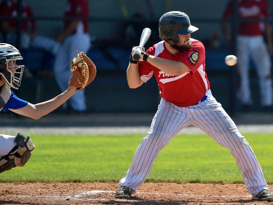Annville's Nick Hughes goes to hit the ball during